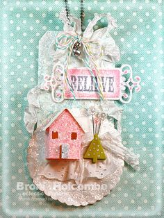 Amazing...a tiny glitter house made on a tag!
