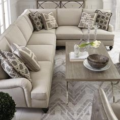 Bernhardt Signature Seating Custom 5 Seat Sectional with Flared Arms and Nails