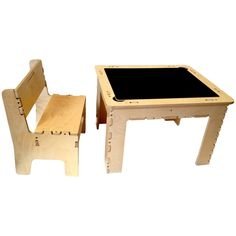 Flip Top Dry Erase and Chalk Table with Bench