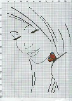 Lady III with Butterfly 2 of 3 Butterfly Cross Stitch, Cross Stitch Baby, Cross Stitch Kits, Cross Stitch Charts, Cross Stitch Designs, Cross Stitch Patterns, Cross Stitching, Cross Stitch Embroidery, Hand Embroidery