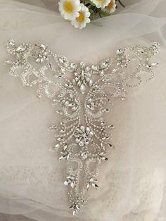 Delicate rhinestone applique collar beaded diamante by lacetime Zardozi Embroidery, Bead Embroidery Patterns, Tambour Embroidery, Embroidery On Clothes, Embroidery Dress, Embroidery Applique, Embroidery Designs, Diy Wedding Veil, Wedding Dress Train