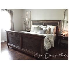 Shanty 2 Chic, 'Queen Bed.' Our Piece on Earth blog. Pottery Barn bedding. Sherwin Williams Pediment