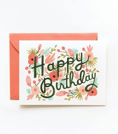 It would be super fun to have these little cards from Rifle Paper Co. on hand to celebrate birthdays. (I think I'm in love with the coral envelope.)