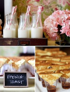 Wedding Food Individual french toast squares on shot glasses with syrup. - Ah, the brunch wedding — budget-friendly and delicious. And don't get hung up on tradition… brunch can take place at ANY time. But what to serve your hungry guests? At the risk o… Baby Shower Brunch, Baby Showers, Shower Baby, Bridal Showers, Girl Shower, Mothers Day Brunch, Sunday Brunch, Easter Brunch, Brunch Mesa