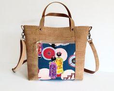 Eco Friendly Cork Bag Japanese Print Handbag Maiko Girls