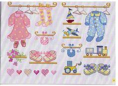 roupinha de bebê em ponto cruz (cross stitch)