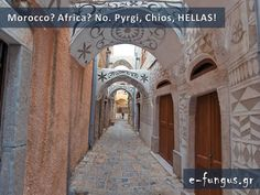 Pyrgi, Chios in Greece Chios, Greece Travel, Greek Islands, Morocco, Taj Mahal, Beautiful Places, Africa, Country, Building
