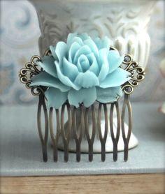 Aqua, Black and White Wedding Ideas - Aqua Blue Rose Flower Comb