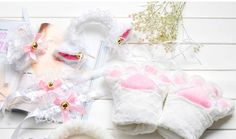 Cute Sexy Kawaii Kitty Cat Keyhole Hollow Bra and Underwear Lingerie Set SD00761