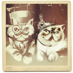 Vintage Polaroid of Lady London of @studleycat and Mr Eggs in 1921.  Vampire or Highlander cats I guess... Or Observers if you are into Fringe. ;) #exoticshorthair #cat #cute #flatface #kitten #meow #pet #mreggs #catlover #exoticsofinstagram #smushface #illustration  By #eggsdaddy @jimiyodotcom