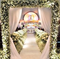 Fairytale Wedding Theme A wedding is a special for most women where they can look their best and feel their best. While there are many different themes one can choose from for her wedding, a fairyt… Church Wedding Decorations Aisle, Wedding Church Aisle, Church Wedding Flowers, Wedding Stage, Wedding Themes, Wedding Events, Wedding Ceremony, Dream Wedding, Fairytale Weddings