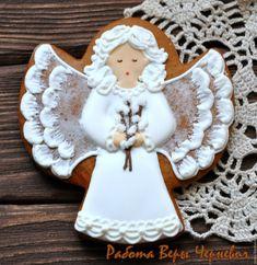 """Купить """"Пасхальный ангел с вербой"""" расписной пряник - пряники, расписные… Roll Cookies, Fancy Cookies, Sweet Cookies, Cute Cookies, Christmas Biscuits, Christmas Sugar Cookies, Gingerbread Cookies, Christmas Goodies, Christmas Angels"""