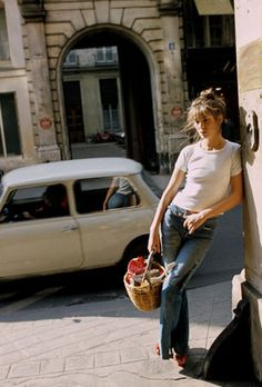 Jane Birkin - white, denim, red sandal