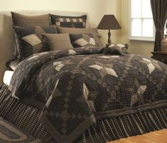 COUNTRY-RUSTIC-BLACK-STAR-POINT-QUILT-Twin-Queen-Cal-King-WESTERN-FARMHOUSE