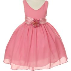 CC1063 - Dusty Rose Chiffon Flower Girl Dress