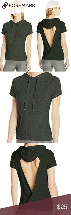 Steve Madden Open Back Short Sleeve Hoodie 95% Rayon, 5% Spandex Imported Machine Wash Mini loop French terry Quick dry Open back Kangaroo pocket Steve Madden Tops