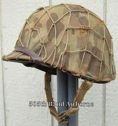WWII M-1 USMC Helmet Westinghouse Liner Front Seam Marine Camo Cover Net
