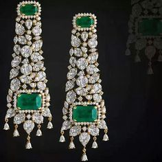 Customised handcrafted affordable simulated diamond jewellery made using 925 silver alloy and synthetic gems by Ratnali jewels. Ratnali jewels inspired by high-end international jewellers adorned by celebrity's and socialites worldwide. Emerald Earrings, Emerald Jewelry, Ear Jewelry, Diamond Jewelry, Fine Jewelry, Gold Earrings Designs, Necklace Designs, Indian Wedding Jewelry, Bridal Jewelry