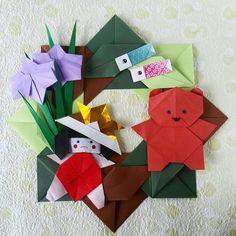 Origami wreath for  Kodomo no hi tutorial from Kamikey on youtube.  Folded by Majomajo