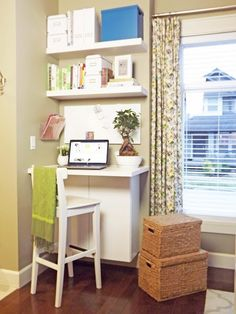 LOVE this desk area.  It's from Ashli at Mallairdvillemanor.com.  It's a small wall-mount cabinet, topped with a small piece of countertop, and floating shelves from Home Depot.  How efficient!