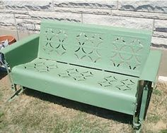 Reminds me of my grandparents' metal glider, which sat under a shade tree in the front yard :) Vintage Metal Glider, Vintage Porch, Vintage Chairs, Porch Furniture, Garden Furniture, Outdoor Furniture, Outdoor Decor, Outdoor Rooms, Outdoor Glider Chair