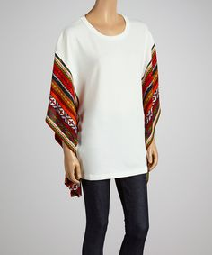 Another great find on #zulily! Just Funky Cream & Red Tribal Poncho by Just Funky #zulilyfinds