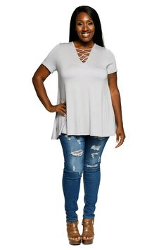 7f69c501e2c Hadari Womens Plus Size Casual VNeck Strappy Neck Tunic Blouse Top      Check out this great product.