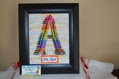 Teacher Gift - Crayon Letter Art Letter A