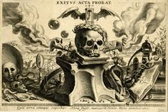 Allegory on Death. A laurelled skull on top of a book and anvil, with a winged hour-glass on top and two trumpets blowing smoke behind the skull, several theatrical masks and a snake at left, several books and a caduceus at right, a wide landscape in background; after Nicolaas van der Horst  Engraving