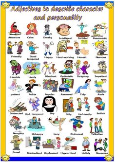 A different activity for the students learn adjectives related to character and personality. It has a picture dictionary on the first page (which can also be used as classroom poster or a st English Words, English Lessons, English Grammar, Teaching English, Learn English, English Language, English Class, English Adjectives, English Vocabulary