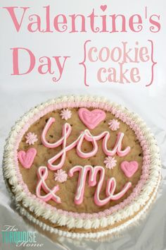 Such a fun idea you can make at home for Valentine's Day! And it tastes better than the store-bought variety... Happy Valentine's Day {cookie cake} | TheTurquoiseHome.com