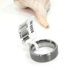 Tungsten wedding ring dark matte beveled 6mm shiny comfort inside size 10 new #Unbranded