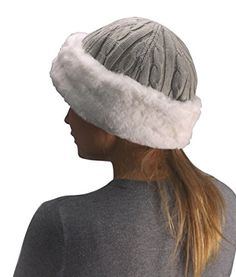 Peach Couture Unisex Double Layered Cable Knit Faux Fur Warm Windproof  Cossack Hat (Grey) 96b98cbd4b7b