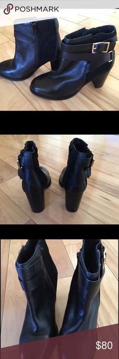 "Topshop black leather booties size 40 / 9-9.5 Beautiful black leather booties w/suede accent and gold buckle. Zipper closure. 3 1/4"" heel. NWOT. Topshop boots  tend to run small. These are a 40 which translates to 9.5 but Nordstrom suggests going a size up so if you are a true 9 these should be perfect. NO TRADES, NO HOLDS. Topshop Shoes Ankle Boots & Booties"