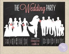 Introducing the Wedding Party in invitation artwork... Really cute design!