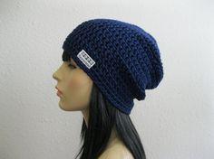 Crochet Slouchy Beanie Hat Navy Blue Unisex by yarnmeditations