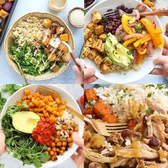 healthy food prep What is a buddha bowl? A buddha bowl is a whole bunch ofgood stuff in a bowl topped with more good stuff. Today we are talking whole grains, lean proteins, tons of v Best Meal Prep, Lunch Meal Prep, Meal Prep Bowls, Healthy Meal Prep, Healthy Dinner Recipes, Best Meals, Healthy Student Meals, Healthy Recipe Videos, Vegetarian Recipes