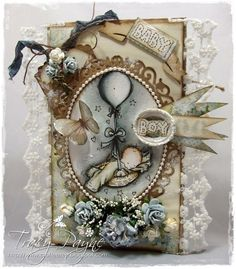 Baby Boy Card by LLC DT Member Tracy Payne, using papers from Pion Design's Sweet Baby collection and a LOTV image.