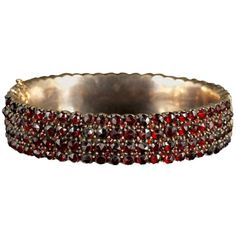 Preowned Antique Victorian Bohemian Garnet Gold Bangle, Circa 1900 ($1,332) ❤ liked on Polyvore featuring jewelry, bracelets, bangles, multiple, antique gold bangles, antique gold jewellery, gold bangle bracelet, gold jewellery and gold jewelry