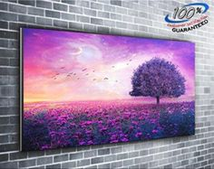 Tree In Lavander Field Painting Panoramic Canvas Print Picture 50 Inch X 20 Inch Over 4 Foot Wide X 1.5 Foot High
