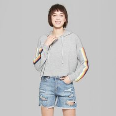 3daf7b2e0bf Women s Striped Cropped Rainbow Placed Hoodie - Wild Fable Heather Gray XS