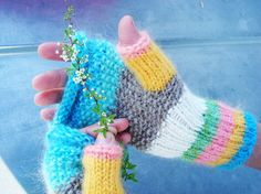 .Multicolor Knit Fingerless Gloves Mittens Arm warmers -JELLYBEAN RAINBOW (pink, yellow, green, blue, gray, white ) $37.00