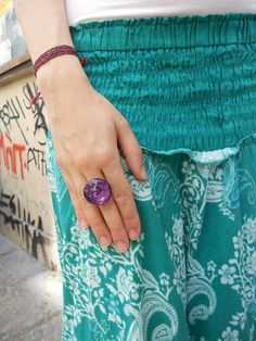 Free Shipping  Beautiful handmade purple button ring by IL2C, €12.00