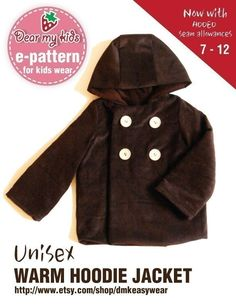 Unisex Warm Hoodie Jacket Junior Size PDF Patterns and instructions ((Age 7 to 12)). $7.00, via Etsy.