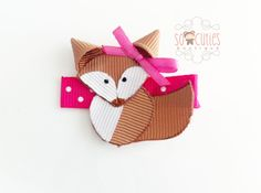 Mrs. Fox ribbon sculpture hair clip, baby hair clip, girl hair clip. Free ship PROMO w 25 usd or more. $4.50, via Etsy.