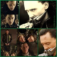 Loki in chains and muzzle