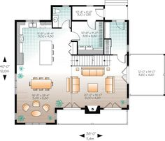 First Floor Plan of Cottage   Country   Craftsman   House Plan 65379