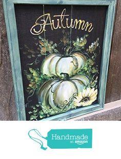 White,Teal and green Pumpkin ,Rustic, Hand painted white pumpkin from RebecaFlottArts https://www.amazon.com/dp/B01MCUCAI6/ref=hnd_sw_r_pi_dp_cSzxzbPSSBXY3 #handmadeatamazon