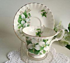 Tea Cup and Saucer  Royal Albert Tea Cup and by treasurecoveally, $20.00