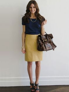I love this work outfit!  If only I was up for wearing yellow skirts to work...